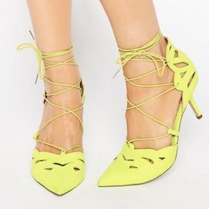 ASOS SIREN Lace Up Pointed Heels - Lime 8